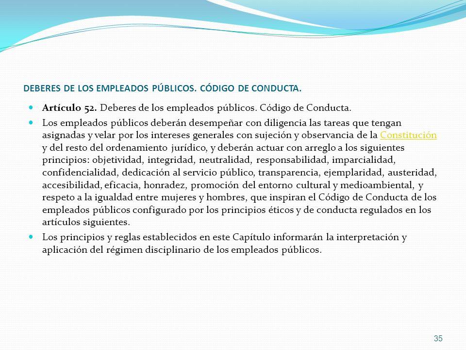 DEBERES DE LOS EMPLEADOS PÚBLICOS. CÓDIGO DE CONDUCTA. Artículo 52. Deberes de los empleados públicos. Código de Conducta. Los empleados públicos debe