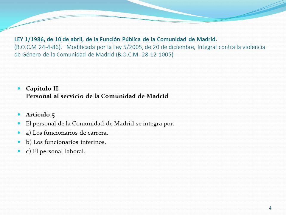 LEY 1/1986, de 10 de abril, de la Función Pública de la Comunidad de Madrid. (B.O.C.M 24-4-86). Modificada por la Ley 5/2005, de 20 de diciembre, Inte