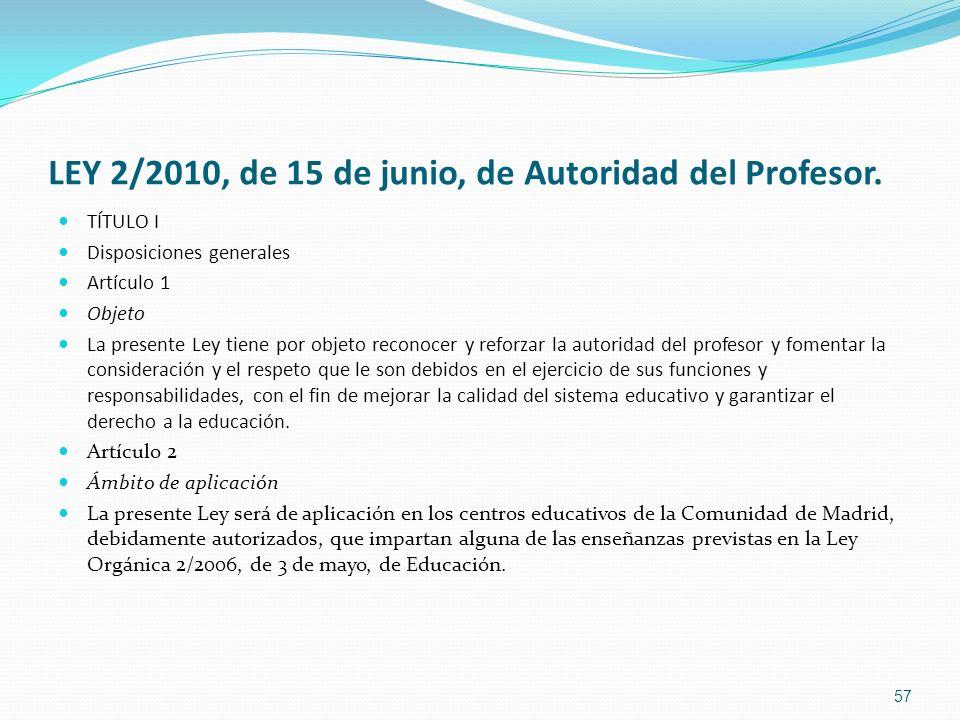 LEY 2/2010, de 15 de junio, de Autoridad del Profesor. TÍTULO I Disposiciones generales Artículo 1 Objeto La presente Ley tiene por objeto reconocer y
