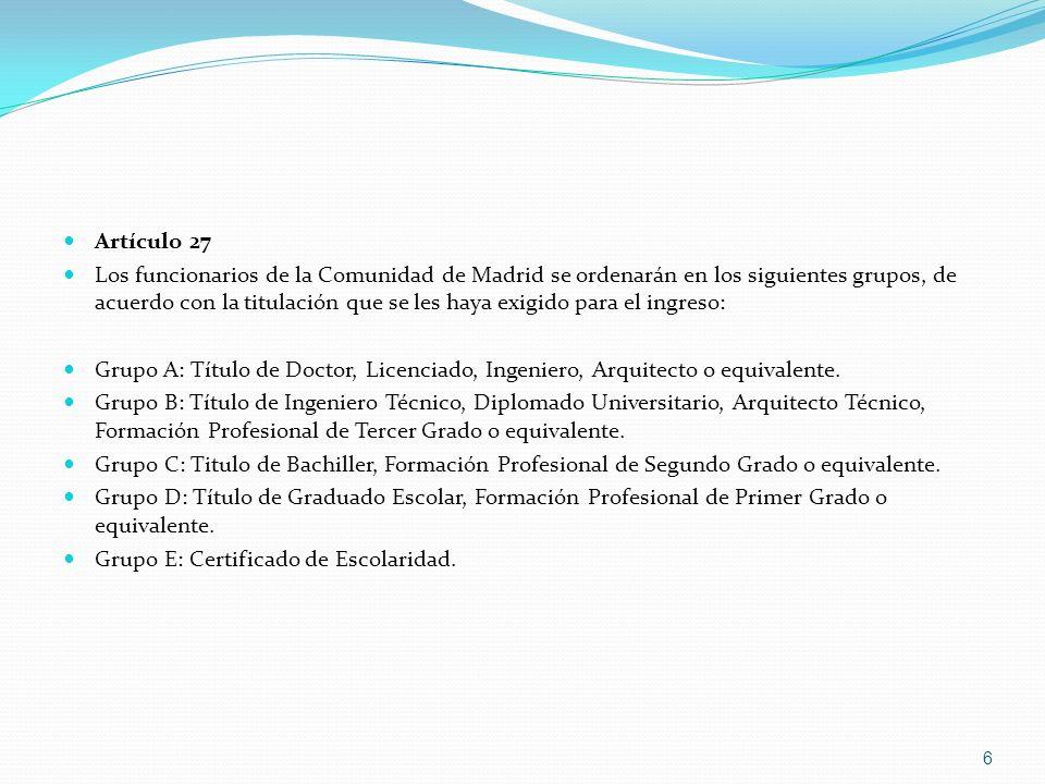 Artículo 27 Los funcionarios de la Comunidad de Madrid se ordenarán en los siguientes grupos, de acuerdo con la titulación que se les haya exigido par