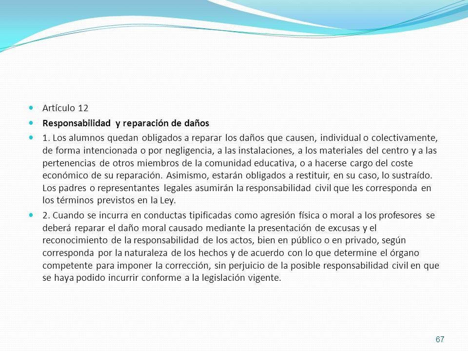 Artículo 12 Responsabilidad y reparación de daños 1. Los alumnos quedan obligados a reparar los daños que causen, individual o colectivamente, de form