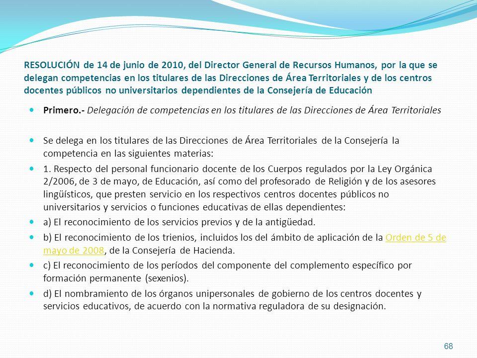 RESOLUCIÓN de 14 de junio de 2010, del Director General de Recursos Humanos, por la que se delegan competencias en los titulares de las Direcciones de