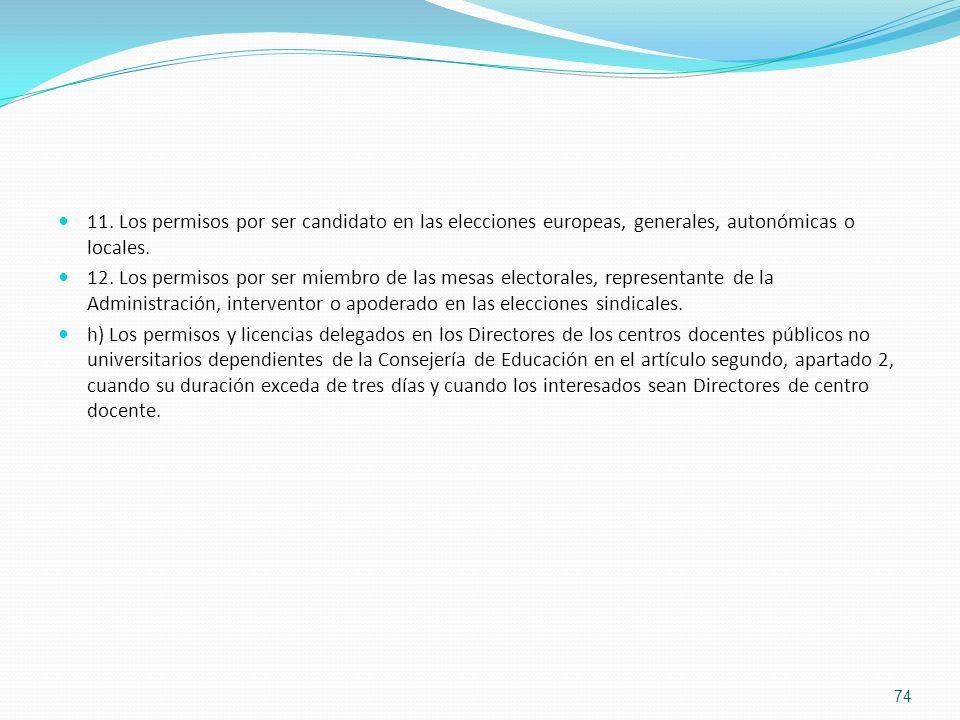 11. Los permisos por ser candidato en las elecciones europeas, generales, autonómicas o locales. 12. Los permisos por ser miembro de las mesas elector