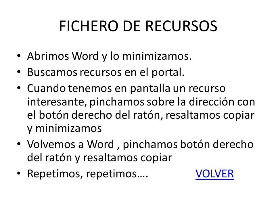 FICHERO DE RECURSOS Abrimos Word y lo minimizamos. Buscamos recursos en el portal. Cuando tenemos en pantalla un recurso interesante, pinchamos sobre