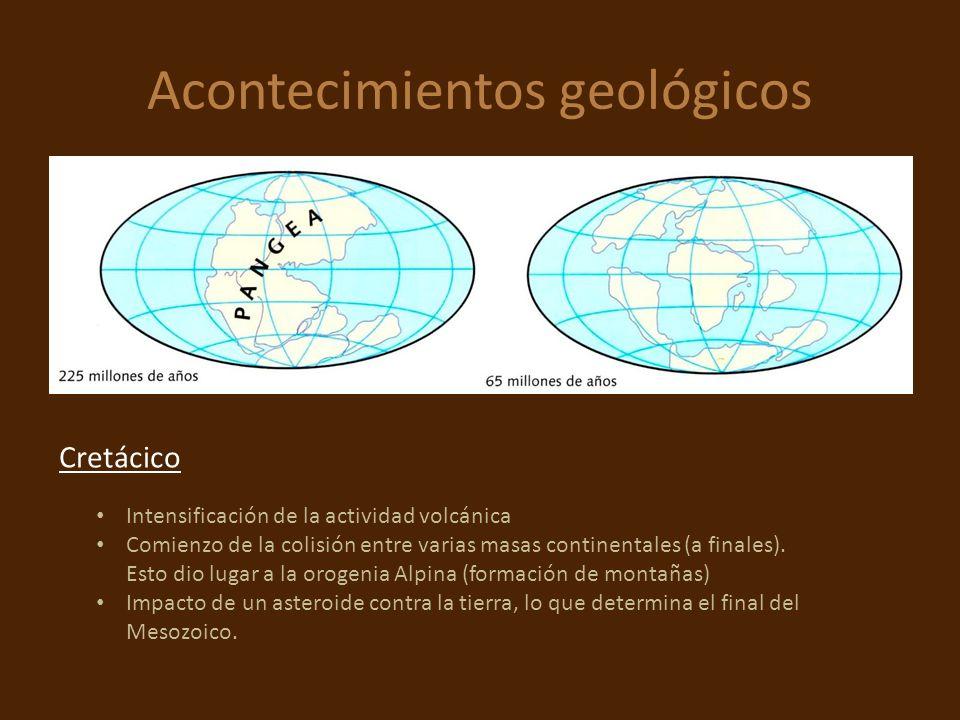 Acontecimientos geológicos Intensificación de la actividad volcánica Comienzo de la colisión entre varias masas continentales (a finales). Esto dio lu