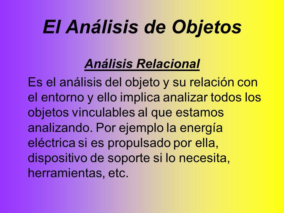 El Análisis de Objetos Análisis Relacional Es el análisis del objeto y su relación con el entorno y ello implica analizar todos los objetos vinculable