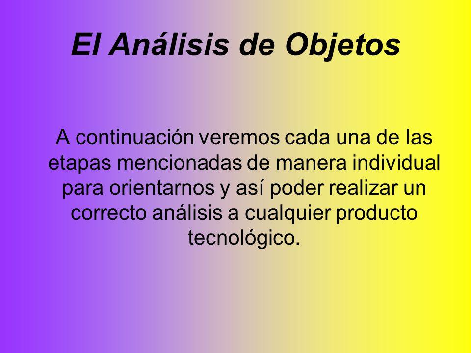 El Análisis de Objetos A continuación veremos cada una de las etapas mencionadas de manera individual para orientarnos y así poder realizar un correct