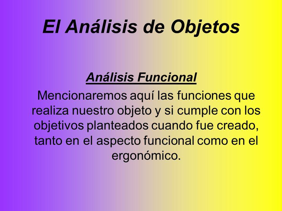 El Análisis de Objetos Análisis Funcional Mencionaremos aquí las funciones que realiza nuestro objeto y si cumple con los objetivos planteados cuando