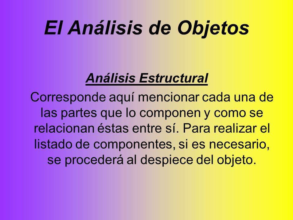 El Análisis de Objetos Análisis Estructural Corresponde aquí mencionar cada una de las partes que lo componen y como se relacionan éstas entre sí. Par