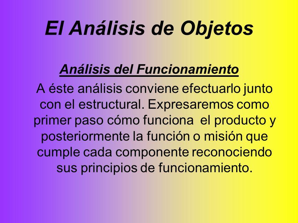 El Análisis de Objetos Análisis del Funcionamiento A éste análisis conviene efectuarlo junto con el estructural. Expresaremos como primer paso cómo fu