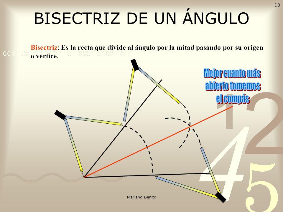 Mariano Benito 9 MEDIATRIZ DE UN SEGMENTO AB Mediatriz: Es la recta perpendicular al segmento por su punto medio.