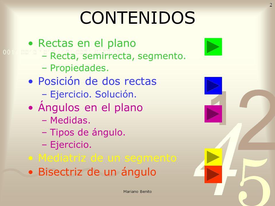 Mariano Benito 1 RECTAS Y ÁNGULOS Para ver el contenido de cada diapositiva debes hacer click