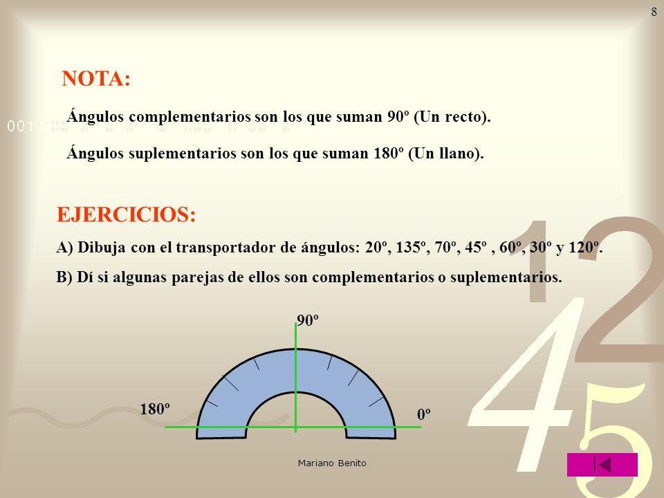 Mariano Benito 7 ÁNGULOS EN EL PLANO origen semirrecta ÁNGULO Según su medida los ángulos pueden ser: agudo Menor que 90º Ángulo recto: Se divide en 9