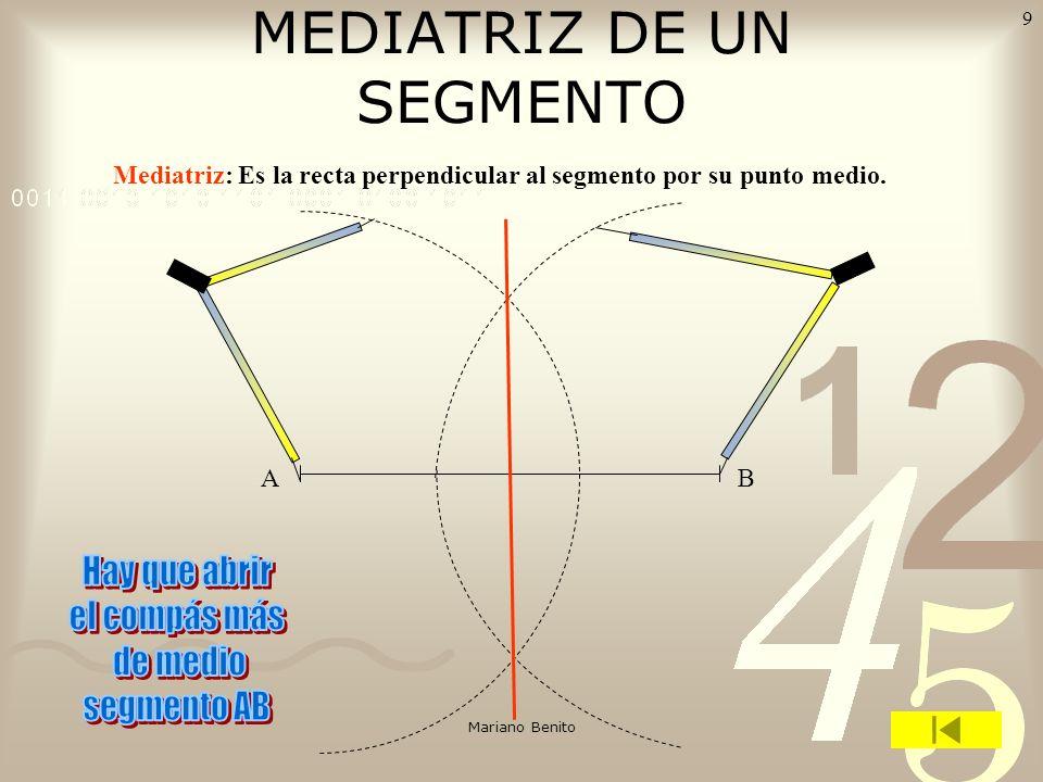 Mariano Benito 8 Ángulos complementarios son los que suman 90º (Un recto). Ángulos suplementarios son los que suman 180º (Un llano). EJERCICIOS: A) Di