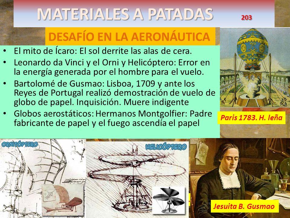 MATERIALES A PATADAS 203 DESAFÍO EN LA AERONÁUTICA El mito de Ícaro: El sol derrite las alas de cera. Leonardo da Vinci y el Orni y Helicóptero: Error