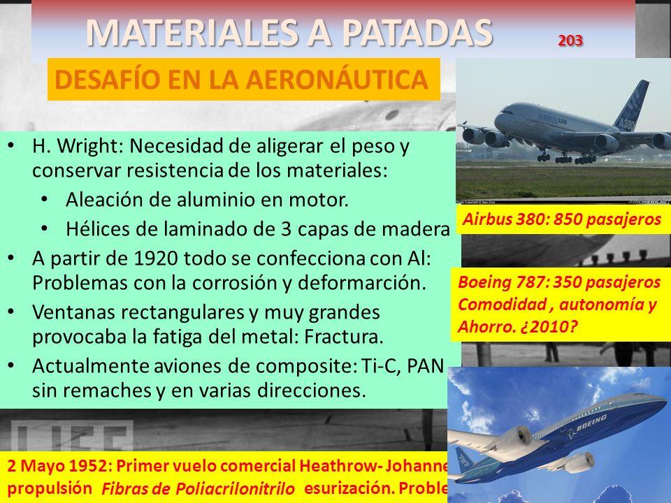 MATERIALES A PATADAS 203 DESAFÍO EN LA AERONÁUTICA H. Wright: Necesidad de aligerar el peso y conservar resistencia de los materiales: Aleación de alu