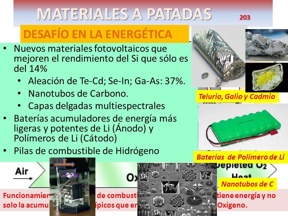 MATERIALES A PATADAS 203 DESAFÍO EN LA ENERGÉTICA Nuevos materiales fotovoltaicos que mejoren el rendimiento del Si que sólo es del 14% Aleación de Te