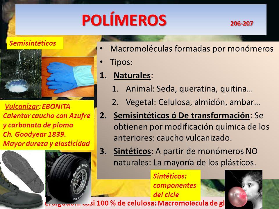 POLÍMEROS 206-207 POLÍMEROS 206-207 Macromoléculas formadas por monómeros Tipos: 1.Naturales: 1.Animal: Seda, queratina, quitina… 2.Vegetal: Celulosa,