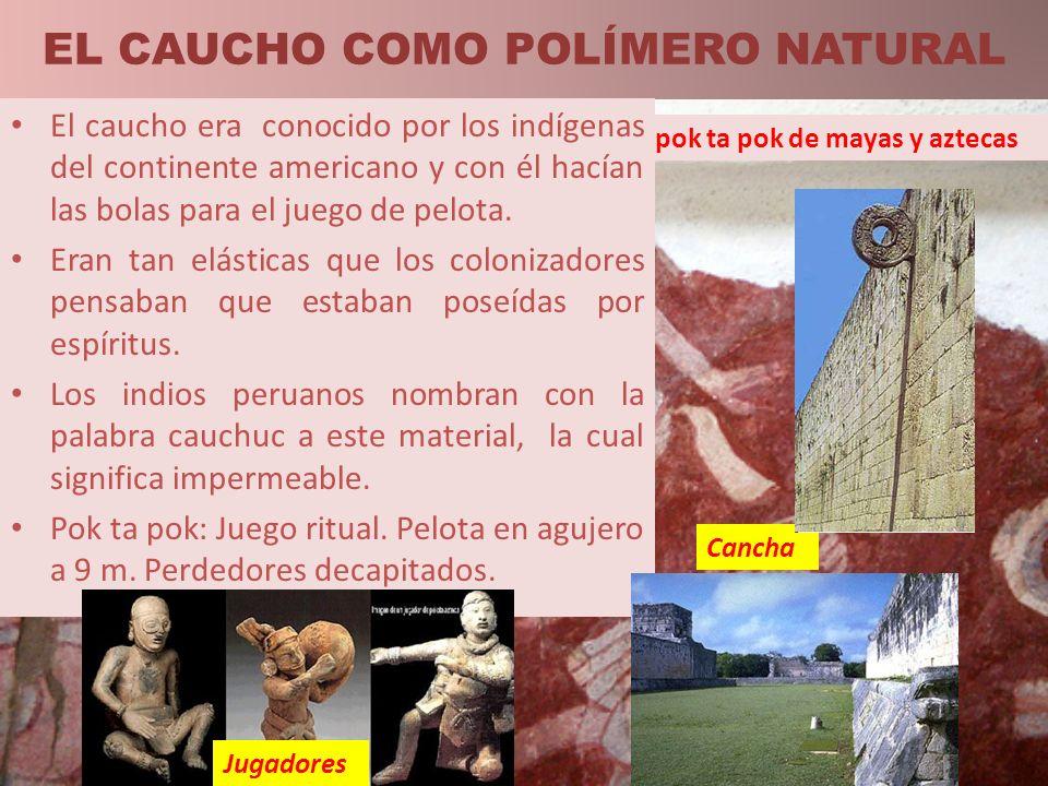 EL CAUCHO COMO POLÍMERO NATURAL Cancha Grabado del juego ritual pok ta pok de mayas y aztecas El caucho era conocido por los indígenas del continente