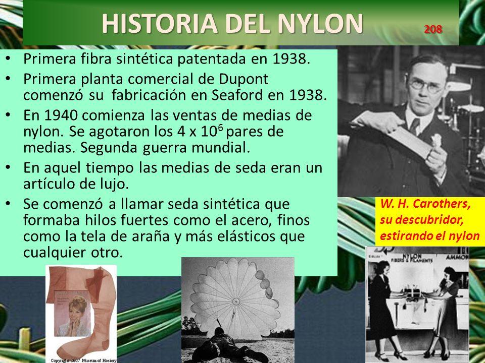 HISTORIA DEL NYLON 208 HISTORIA DEL NYLON 208 Fibra de Nylon W. H. Carothers, su descubridor, estirando el nylon El Nylon es una poliamida Primera fib