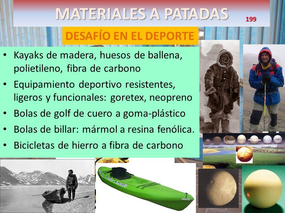 MATERIALES A PATADAS DESAFÍO EN EL DEPORTE Kayaks de madera, huesos de ballena, polietileno, fibra de carbono Equipamiento deportivo resistentes, lige