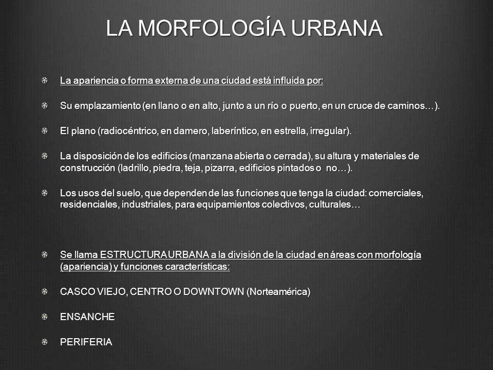 LA MORFOLOGÍA URBANA La apariencia o forma externa de una ciudad está influida por: Su emplazamiento (en llano o en alto, junto a un río o puerto, en