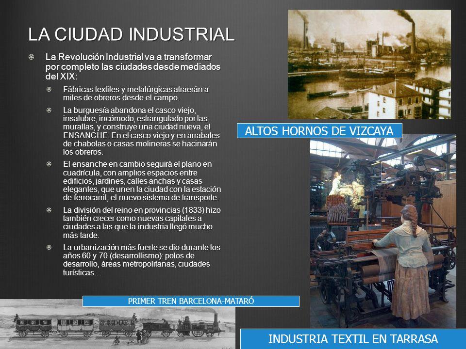 LA CIUDAD INDUSTRIAL La Revolución Industrial va a transformar por completo las ciudades desde mediados del XIX: Fábricas textiles y metalúrgicas atra