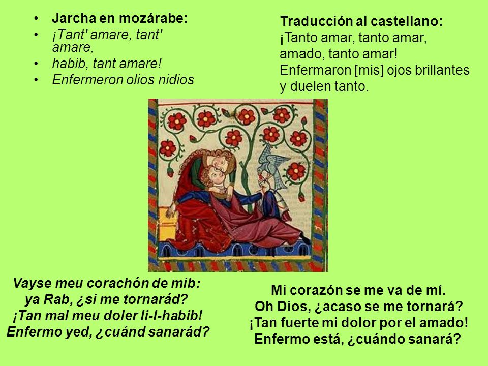 Jarcha en mozárabe: ¡Tant' amare, tant' amare, habib, tant amare! Enfermeron olios nidios Traducción al castellano: ¡Tanto amar, tanto amar, amado, ta