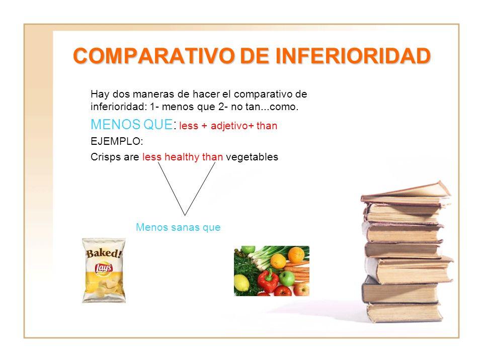 COMPARATIVO DE INFERIORIDAD Hay dos maneras de hacer el comparativo de inferioridad: 1- menos que 2- no tan...como. MENOS QUE: less + adjetivo+ than E
