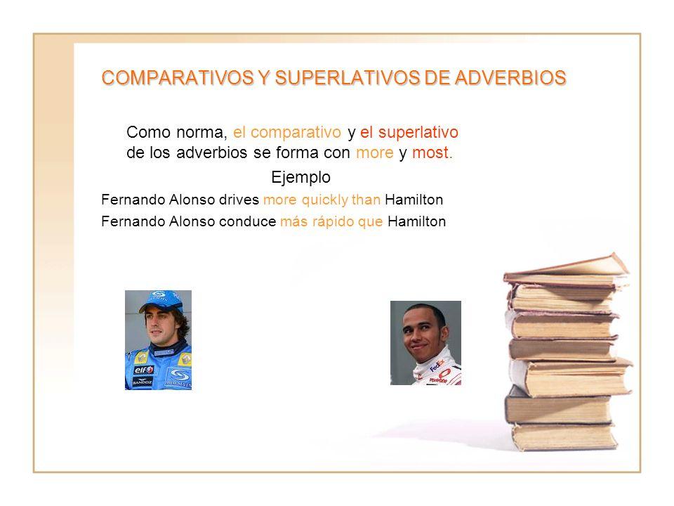 COMPARATIVOS Y SUPERLATIVOS DE ADVERBIOS Como norma, el comparativo y el superlativo de los adverbios se forma con more y most. Ejemplo Fernando Alons