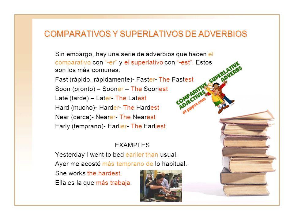 COMPARATIVOS Y SUPERLATIVOS DE ADVERBIOS Sin embargo, hay una serie de adverbios que hacen el comparativo con -er y el superlativo con -est. Estos son