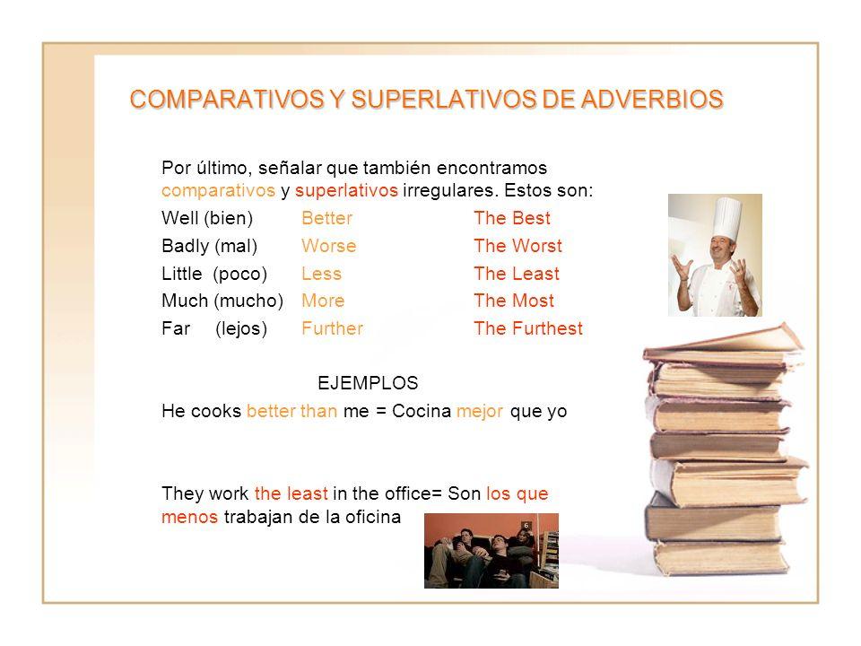 COMPARATIVOS Y SUPERLATIVOS DE ADVERBIOS Por último, señalar que también encontramos comparativos y superlativos irregulares. Estos son: Well (bien)Be