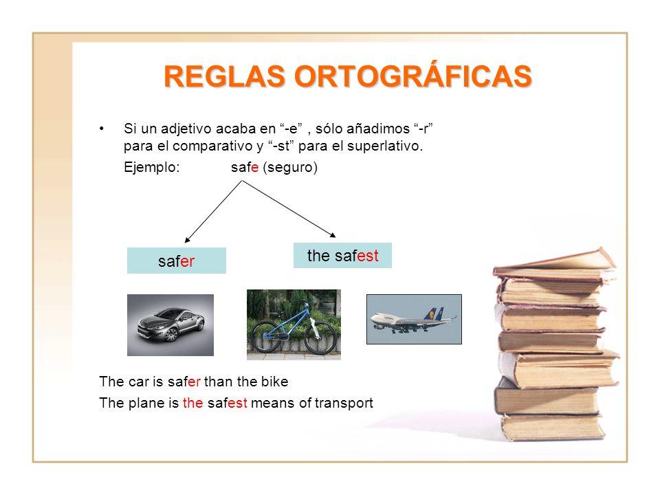 REGLAS ORTOGRÁFICAS Si un adjetivo acaba en -e, sólo añadimos -r para el comparativo y -st para el superlativo. Ejemplo: safe (seguro) The car is safe