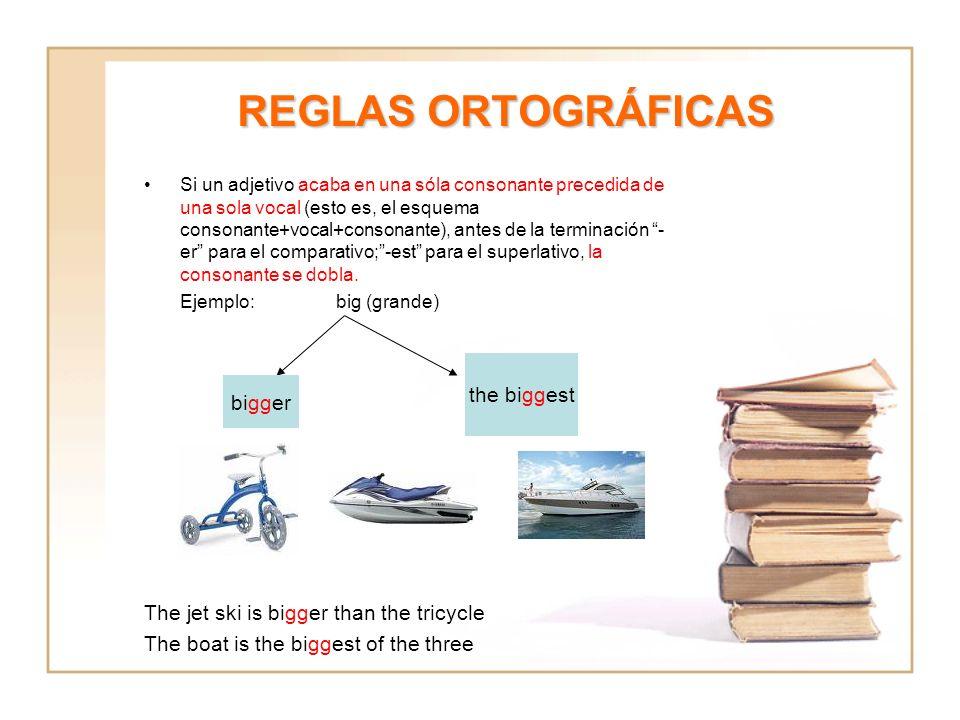 REGLAS ORTOGRÁFICAS Si un adjetivo acaba en una sóla consonante precedida de una sola vocal (esto es, el esquema consonante+vocal+consonante), antes d