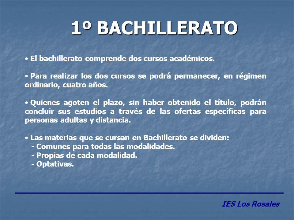 MATERIAS COMUNES 1º BACHILLERATO MATERIASHORAS CC.