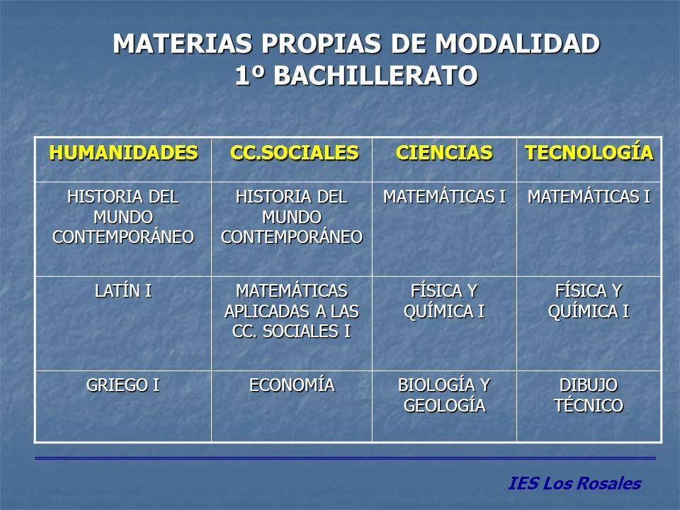 MATERIAS OPTATIVAS 1º BACHILLERATO IES Los Rosales Se elige 1 materia (4 h.) entre: - 2ª Lengua extranjera - Tecnologías de la Comunicación y la Información - Ampliación de 1ª Lengua Extranjera