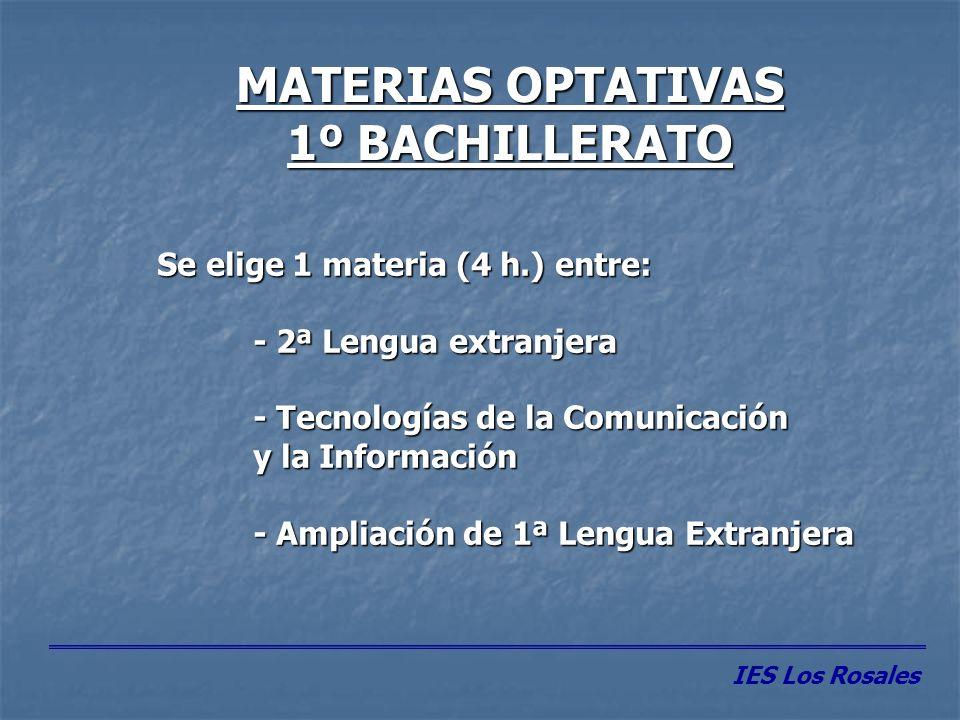 MATERIAS COMUNES 2º BACHILLERATO MATERIASHORAS HISTORIA DE LA FILOSOFÍA 3 HISTORIA DE ESPAÑA 4 LENGUA EXTRANJERA 3 LENGUA CASTELLANA Y LITERATURA II 4 IES Los Rosales
