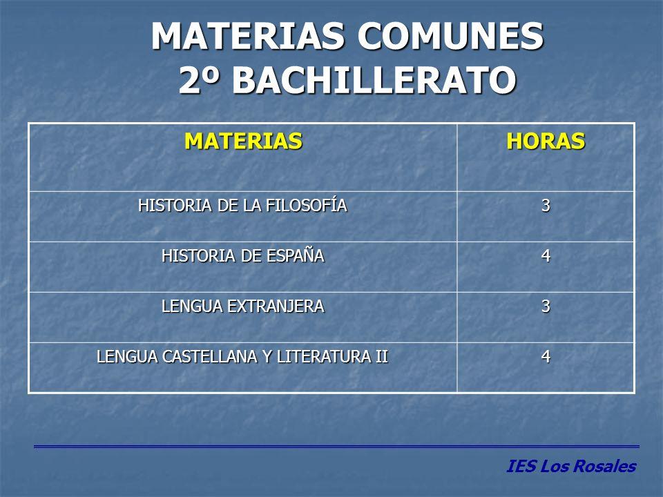 MATERIAS PROPIAS DE MODALIDAD 2º BACHILLERATO Se eligen 3 materias (4 h.