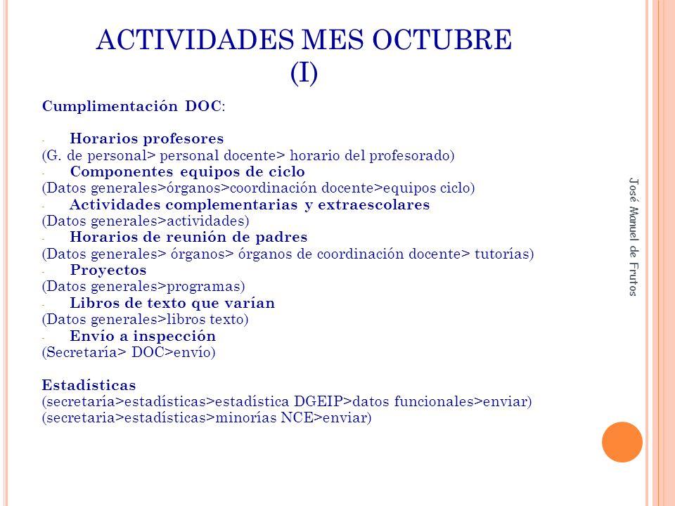 ACTIVIDADES MES OCTUBRE (I) Cumplimentación DOC : - Horarios profesores (G. de personal> personal docente> horario del profesorado) - Componentes equi