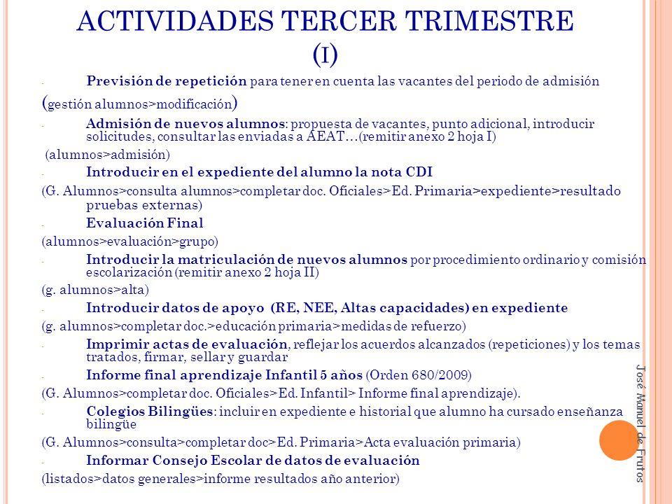 ACTIVIDADES TERCER TRIMESTRE ( I ) - Previsión de repetición para tener en cuenta las vacantes del periodo de admisión ( gestión alumnos>modificación