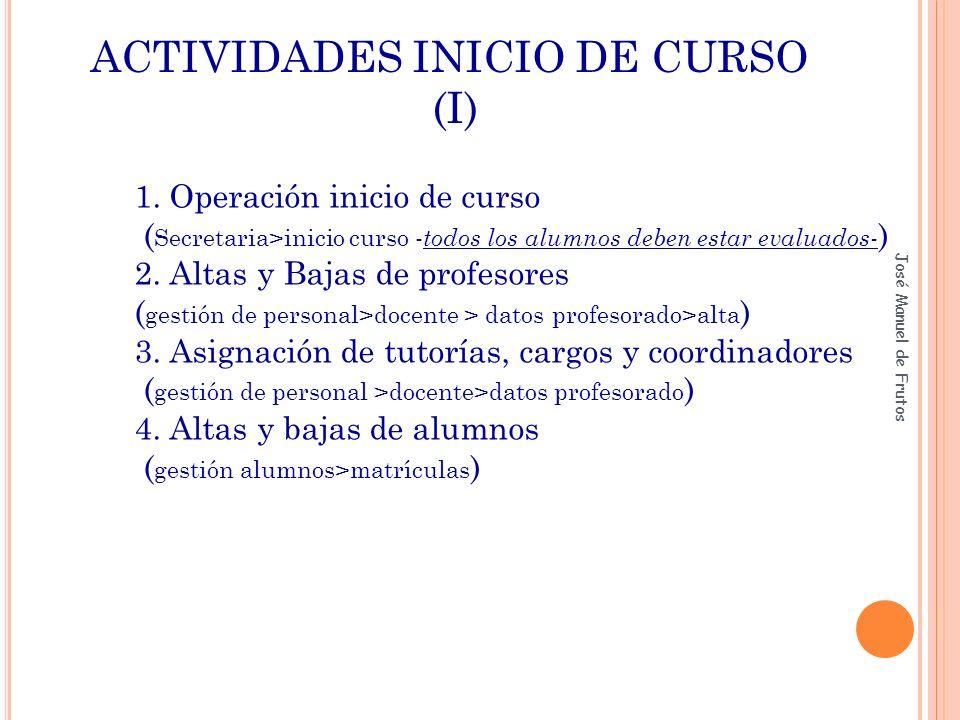 ACTIVIDADES INICIO DE CURSO (I) 1. Operación inicio de curso ( Secretaria>inicio curso - todos los alumnos deben estar evaluados- ) 2. Altas y Bajas d