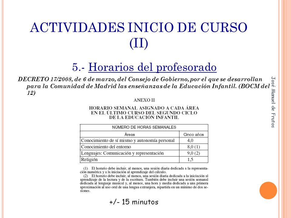 ACTIVIDADES INICIO DE CURSO (II) 5.- Horarios del profesorado DECRETO 17/2008, de 6 de marzo, del Consejo de Gobierno, por el que se desarrollan para