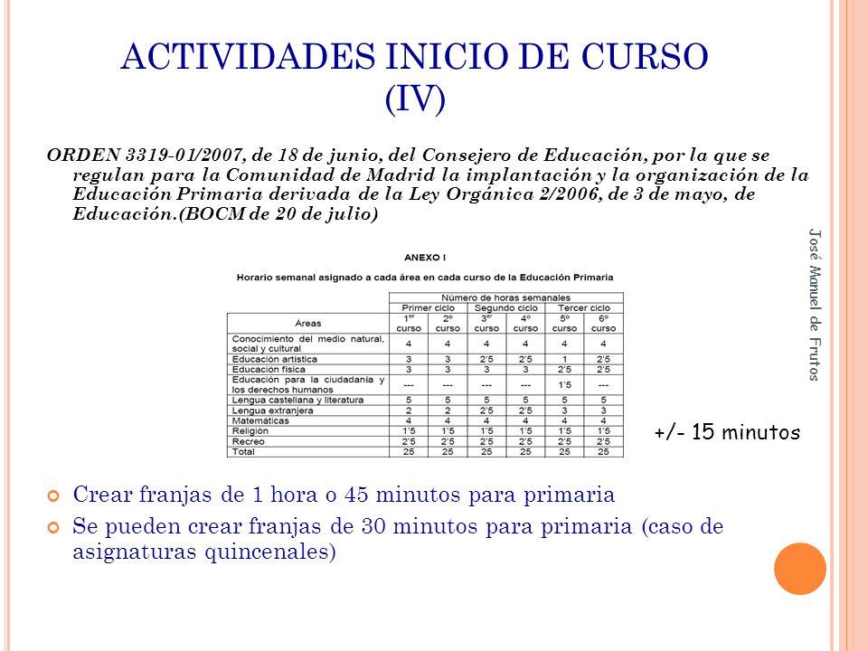 ACTIVIDADES INICIO DE CURSO (IV) ORDEN 3319-01/2007, de 18 de junio, del Consejero de Educación, por la que se regulan para la Comunidad de Madrid la