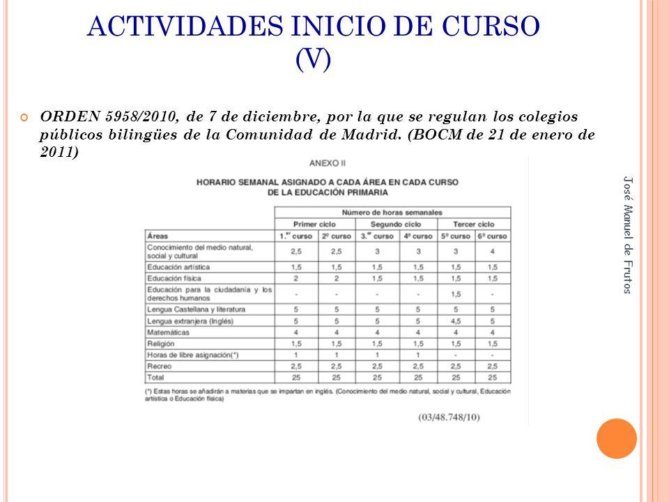 ACTIVIDADES INICIO DE CURSO (V) ORDEN 5958/2010, de 7 de diciembre, por la que se regulan los colegios públicos bilingües de la Comunidad de Madrid. (
