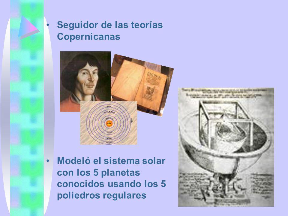 Seguidor de las teorías Copernicanas Modeló el sistema solar con los 5 planetas conocidos usando los 5 poliedros regulares