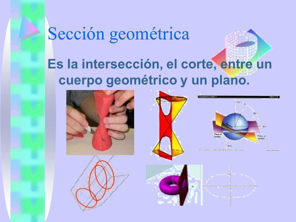 Sección geométrica Es la intersección, el corte, entre un cuerpo geométrico y un plano.