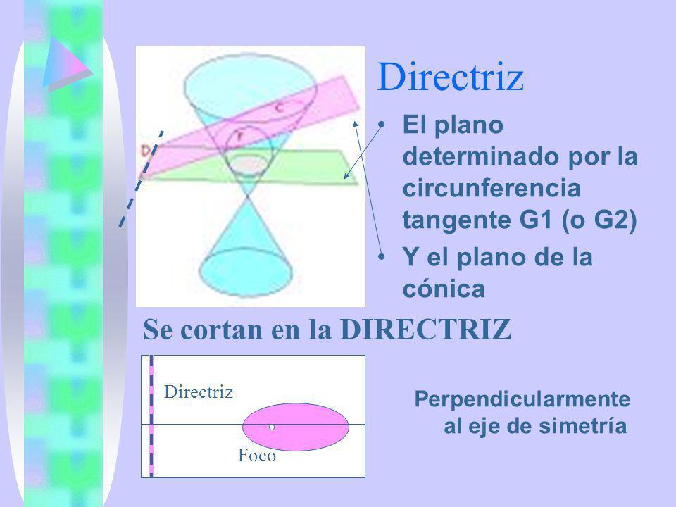 Directriz El plano determinado por la circunferencia tangente G1 (o G2) Y el plano de la cónica Perpendicularmente al eje de simetría Directriz Foco S