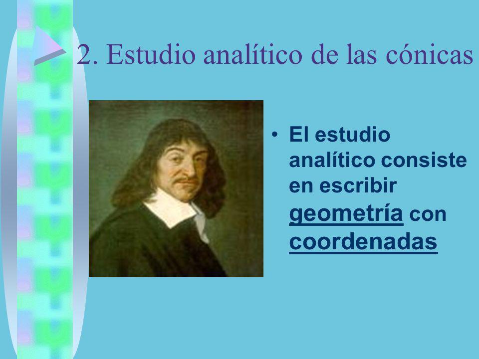 2. Estudio analítico de las cónicas El estudio analítico consiste en escribir geometría con coordenadas
