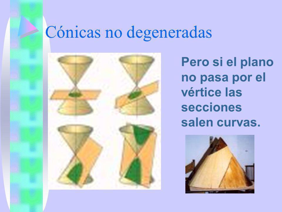 Clasificación circunferencia elipse parábola hipérbola Si el plano y el eje del cono son PERPENDICULARES Si el plano y el eje forman un ángulo MAYOR que el formado por el eje y una generatriz Si el plano es PARALELO a una generatriz Si el plano y el eje forman un ángulo MENOR que el eje y una generatriz Y si el plano es paralelo al eje la hipérbola se llama EQUILÁTERA