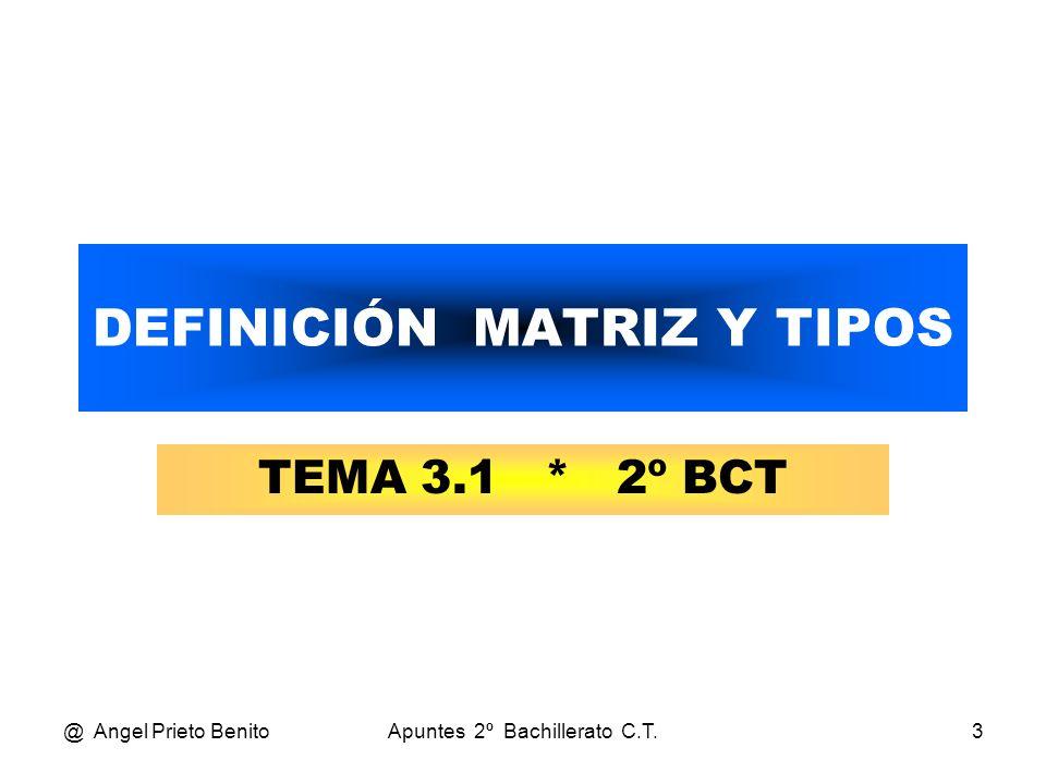 @ Angel Prieto BenitoApuntes 2º Bachillerato C.T.14 MATRIZ SIMÉTRICA A = 2 -1 -1 4 1 3 43-5 Los elementos son iguales dos a dos respecto a la diagonal principal.